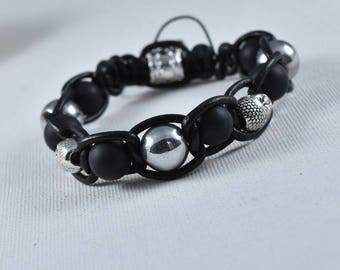 Bracelet Buddha hematite silver black onyx-leather