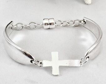 Sideways Cross Bracelet Spoon Jewelry Christian Cross Jewelry Gift Mom Gift Mother's Day Gift Anniversary Gift Bracelet for Sister Gift