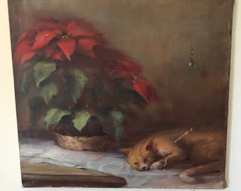 Vintage Oil Painting of Poinsettia and Tabby Cat Large Unframed Oil Painting on Canvas