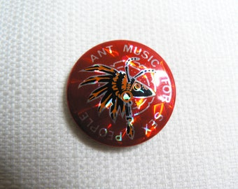 Vintage 80s - Adam and the Ants - Ant Music for Sex People Feather Headdress Prism Style Pin / Button / Badge