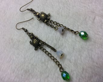 The green turtle dangle earrings