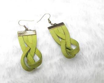 Green braided suede earrings