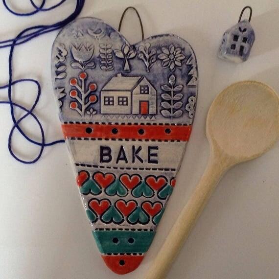 Handmade Ceramic Hanging heart, pattern, colour, folk art, create, craft, stitch, knit, quilt, crochet, bake