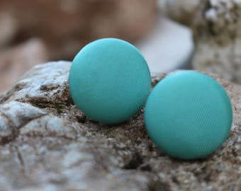 19 mm Turquoise Fabric Covered Button Earrings