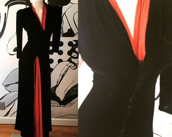 RESERVED - Black Velvet Evening Gown with Rust Underlay