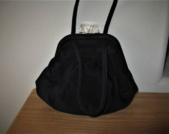 1940's Dark Navy Rayon Handbag with Lucite Clasp