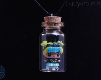Quirky Glass Vial Necklace with MixieQ Figurine on Leather
