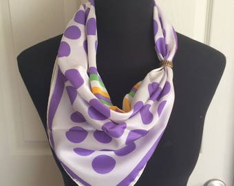 Vintage Adorit Psychedelic 1970's Purple Polka Dots and Diamond Pattern Scarf Summer Scarf - Made in Japan - FREE SHIPPING EVERYWHERE