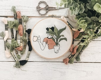 Plant Girl Embroidery // Plant Embroidery Hoop // Plant Embroidery Design // Plant Lady // Plant Coffee Mug // Cactus Embroidery // Coffee