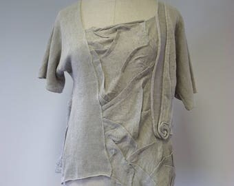 Special price. Summer artsy linen blouse, L size.