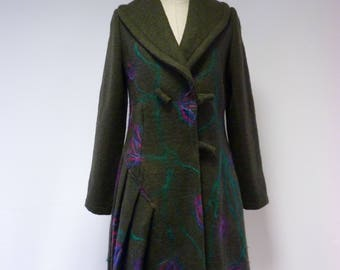 The hot price. Artsy forest green felted coat, M size.