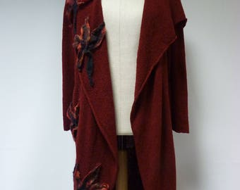 The hot price. Amazing exceptional ruby warm long cardigan, XXL size.