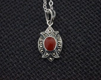 Vintage Sterling Silver Marcasite Pendant - Marcasite Necklace - Sterling Silver Necklace - Sterling Silver Pendant - Marcasite Jewelry