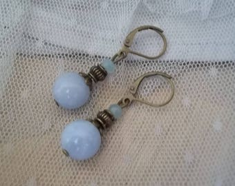 PE25 - Earrings bronze and sky blue Amazonite
