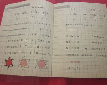 32 pages I learn the Calculus Writing Book Hachette-French vintage craft book children school notebook school-France, used, written, colored