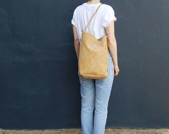 "vegan bag ""Clari"", backpack cork, beige backpack, brown bag, cork leather bag, 2 in 1 bag, faux-leather, minimalist bag"