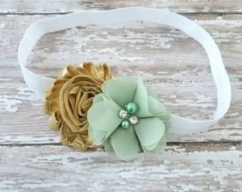 Green White and Gold Headband - Pale Green Headband - Gold Baby Headband - St Patrick's Day Headband - St Pattys Day Bow - Newborn Headband