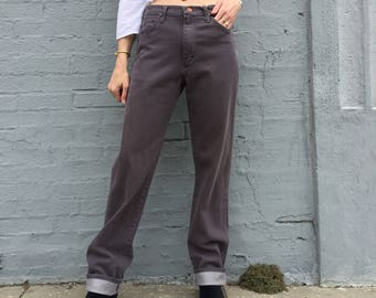 vintage 90s wrangler grey denim mom jeans high waist western boyfriend zip fly 5 pocket 28 womens