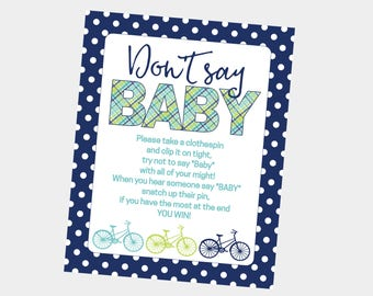 Don't Say Baby Printable Baby Shower Game for Bicycle Baby Shower. Green and Blue Plaid, Polka Dot. Instant Digital Download