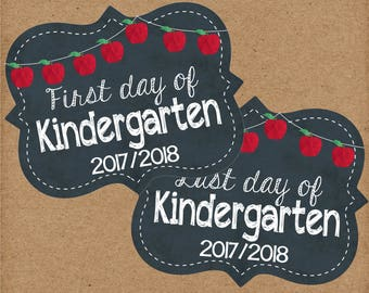 First Day of Kindergarten Sign. Instant Digital Download. Includes First and Last Day Of School Signs. Back to School Signs, Photo Prop