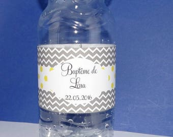 Gray chevron and yellow polka dot water bottle label