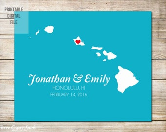 Hawaii Wedding Gift Personalized Hawaii Map Custom Hawaii Wedding Gift Hawaii Map Art Destination Wedding Gift