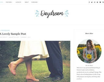 WordPress Theme Daydream, Mobile Responsive Blog Template, Premade Web Design, for WordPress.org Websites