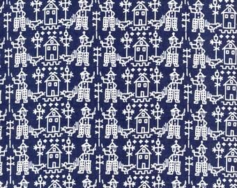 Tissu Patchwork coton marine et blanc motifs folklore hollandais
