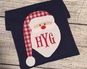 Blanket stitch Santa applique shirt