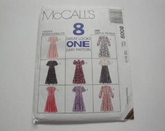 McCall's Crafts Pattern #8009-Little Girl Dresses, sizes 4/5/6