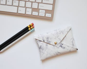 Vegan leather business card wallet, marble wallet, marble accessories, marble print, business card case, business card wallet