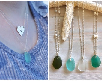 Sea Glass Necklace - Beach Glass Necklace - Sea Glass Jewelry - Beach Wedding Jewelry - Beach Bridesmaid Necklace - Mermaid Jewelry -Genuine