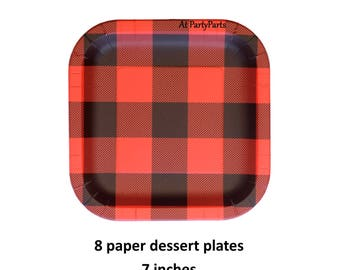 square buffalo plaid dessert plates, red flannel, lumberjack birthday decorations, outdoors, lodge, Christmas, mens party idea, Thanksgiving