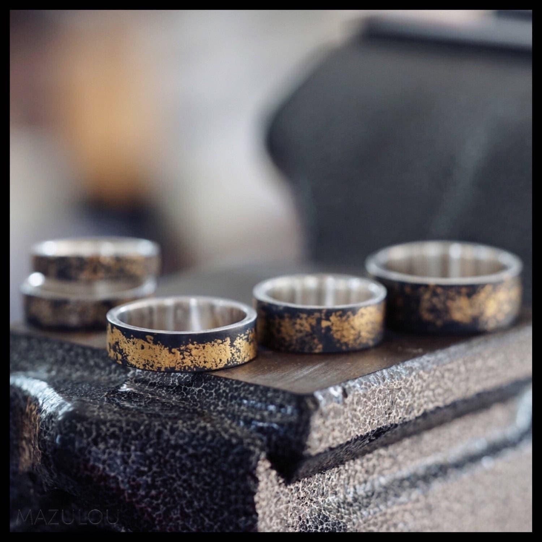 Bestelloptionen Gold auf schwarz Ring 24 K Gold und Sterling