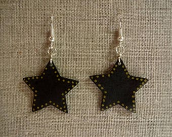 Black and gold stars earrings