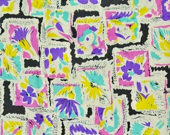 Vintage 50s Novelty Print Silk Fabric // 1950s Silk Fabric