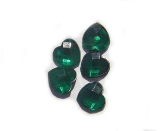 10 Green Crystal Heart Resin Flatbacks - Resin Cabochons