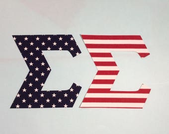 Stars and Stripes - 4 inch Greek letters (Iron or Sew)