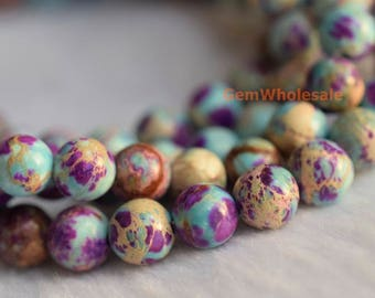 "15.5"" 6mm purple green emperor jasper round beads,Sea Sediment Imperial Jasper,semi precious stone,purple green Aqua Terra Jasper N"