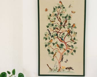 Vintage embroidery piece| vintage wall decoration| wall decoration| embroidery piece| 70's| birds wallhanging| large wall piece