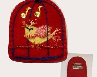 Red Birdcage w-yellow Bird ID/Badge Holder