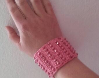 Accessories pink beaded bracelet crocheted bracelets jewelry accessories for women gifts women bracelets cuffed bracelet gift for her cuffed