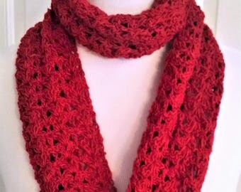 red infinity scarf, gift for her, spring and summer neck wrap, circle scarf