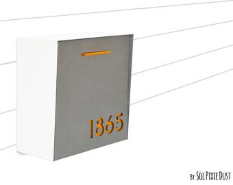 Modern Mailbox with Concrete Face,Pure White Aluminum Body and Yellow Acrylic  , Custom Modern Mailbox, Wall Mounted Mailbox,Type 1