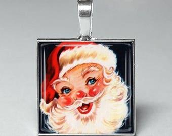 Vintage retro style christmas santa clause glass tile pendant necklace jewelry