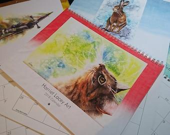2018 Calendar Harriet Lacey Art, Art Wall Calendar, Nature Calendar, Animal Calendar, Painting Calendar, Artist Calendar, Colourful Calendar