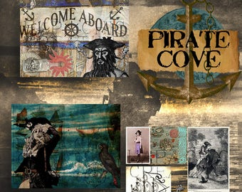 Pirate Cove  Nautical Journal  Travel Journal Kit  Pirate Printables  junk journal printable  Junk journal Supply  digital journal pages