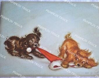 Vintage Christmas Card - Marjorie Cooper Tug of War Puppies - Unused