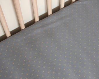 Dark Grey and Gold Plus Crib Sheet /  Gold and Grey Fitted Sheet / Charcoal Crib Sheet / Gender Neutral Crib Sheet