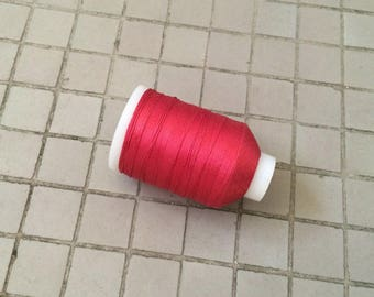 Vintage Gudebrod Bros Silk Thread Spool, Maroon, Size D, 345 Yards